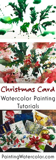 12 Days of Christmas Cards, Holly – Christmas DIY Holiday Cards Painted Christmas Cards, Watercolor Christmas Cards, Beautiful Christmas Cards, Watercolor Cards, Christmas Art, Handmade Christmas, Watercolor Painting, Christmas Decorations, Diy Holiday Cards