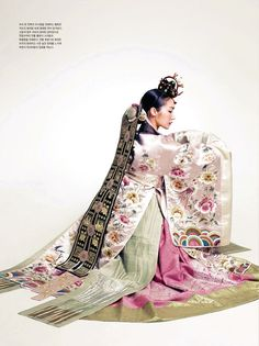 """hanboklynn: """" Elegant and beautiful silk hanbok for Spring. With its gorgeous pastel-toned colors and high-quality silk, this hanbok is just stunning! and elegant hanbok dress for brides. Korean Traditional Clothes, Traditional Fashion, Traditional Dresses, Hanbok Wedding, Costume Ethnique, Korea Dress, Modern Hanbok, Korean Design, Korean Wedding"""