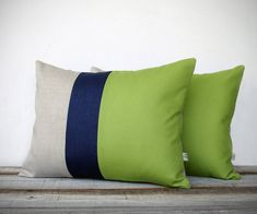 Color Block Stripe Pillow in Lime Green, Navy and Natural Linen (Set of 2) by JillianReneDecor - Modern Home Decor - Decorative Pillow