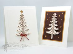 Cartes de Noël et ses sapins réalisées avec le nouveau lot Traîneau de Noël de Stampin'UP! #noël #christmas #stampinup