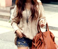 beige sweater + big brown purse
