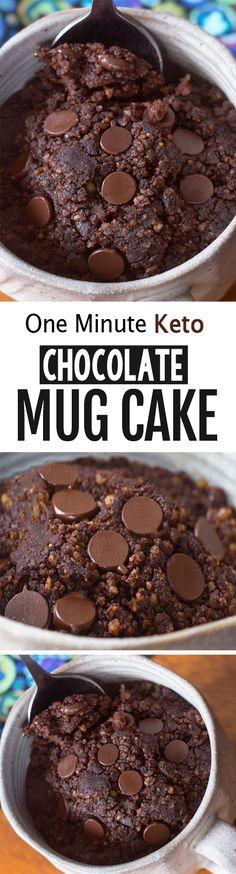 Keto mug cake - low carb recipe! vegan keto recipes in 2019 Chocolate Low Carb, Keto Chocolate Mug Cake, Keto Mug Cake, Healthy Chocolate, Chocolate Recipes, Baking Chocolate, Chocolate Truffles, Chocolate Chips, Low Carb Paleo