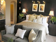 Bedroom, Luxurious Modern Small Bedroom For Romantic Bedroom Paint Colors Ideas Using Pendant Lighting With Modern Grey Sofa And Luxurious Table Lamp. What is the Most Romantic Bedroom Paint Colors Ideas? Home, Bedroom Makeover, Home Bedroom, Tropical Living Room, Luxurious Bedrooms, Modern Bedroom, Small Bedroom, Couple Bedroom, Master Bedrooms Decor