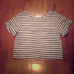 J. Crew Oversized Crop Top This J.Crew Crop Top is a must have for spring and summer. Lightweight cotton in an adorable striped print, perfect to pair with shorts and sandals for daytime or black pants and heels for a night out! J. Crew Tops Crop Tops