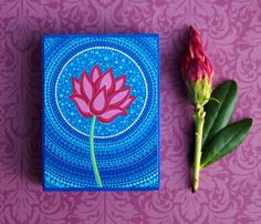 Blue Calming Lotus Flower Wood Block Print Art by ElspethMcLean, $9.50