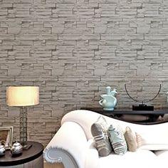 Stile country, motivo a mattoni, realistica, Carta da parati 52,98 cm x 10 m, in PVC tridimensionale, in rilievo, in vinile, da parete, anche per TV, colore: grigio, per soggiorno, camera da letto