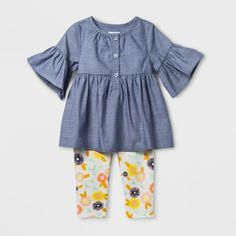 e8ad8407 Baby Girls' Short Sleeve Chambray Henley Tunic with Fleece Leggings Set -  Cat & Jack. target.com