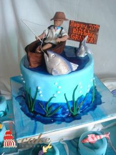 Idea for Father's Day cake Fish Cake Birthday, Birthday Cakes For Men, Unique Cakes, Creative Cakes, Fisherman Cake, Foto Pastel, Boat Cake, Fathers Day Cake, Cupcake Cakes