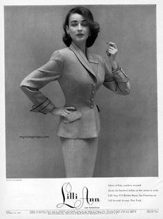 Dorian Leigh, Lilli Ann Fashions 1952 - photo by Richard Avedon