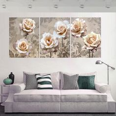 panel cuadros decoracion canvas oil painting wall modular pictures for living room hd print flowers