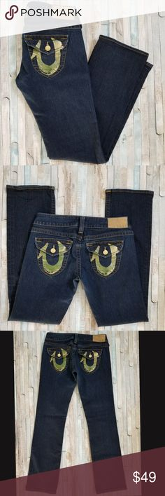 307dbd7a0 True Religion Billy Straight Jeans Beautiful dark wash True Religion Billy  Straight Jeans with gold foil