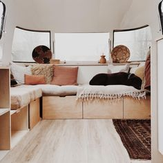 The Never-Ending Project, aka, Our Home. Worked on creating a sectional this morning, which I've wanted to do in here after doing two of… Caravan Living, Airstream Living, Airstream Trailers, Travel Trailers, Airstream Renovation, Airstream Interior, Vintage Airstream, Vintage Campers, Airstream Remodel