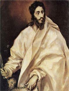 Bartholomew the Apostle - El Greco. Oil on canvas. 38 x 30 El Greco Museum, Toledo, Spain. Oil On Canvas, Canvas Art, Canvas Prints, Art Prints, Spanish Painters, Spanish Artists, Pierre Auguste Renoir, Claude Monet, Immaculée Conception