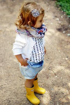 for the super chic little: always remember your spring scarf and yellow wellies #estella #kids #fashion