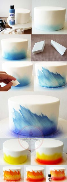 DIY Ombre Cake Technique with Airbrush and Makeup Sponge - 17 Amazing Cake Decor. - DIY Ombre Cake Technique with Airbrush and Makeup Sponge – 17 Amazing Cake Decorating Ideas, Tips - Cakes To Make, Fancy Cakes, Cute Cakes, How To Make Cake, Cake Decorating Techniques, Cake Decorating Tutorials, Cookie Decorating, Decorating Ideas, Cake Icing Techniques