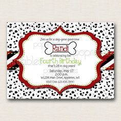 Dalmation Dots Puppy Dog Themed Birthday Invitation - DIY PRINTABLE. $12.00, via Etsy.