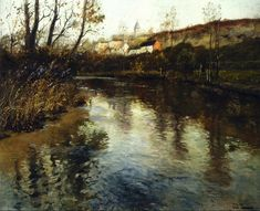 Painting of the Day!  Frits Thaulow c.1847-c.1906 Norwegian painter, printmaker, engraver, pastellist, author and landscapist Elvelandskap River Landscape Oil on canvas  To see more works by this artist please visit us at: https://www.artrenewal.org/Artwork/Index/13898
