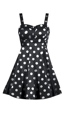 Retro Polka Dot Swing Dress - Black