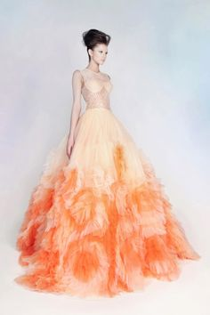 Rami Kadi Lace and Tulle Gown, I really don't care for the color orange, but this really catches my eye!