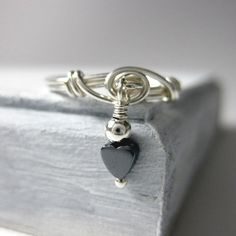Dangle Ring Wire Wrapped Promise Ring Sterling by holmescraft
