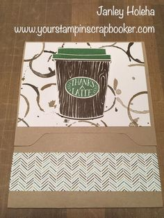 Simple gift card holder card, requires a 12x12 sheet of yardstick for base. Credit to Jody Brechbill of the Stampin Queen for the inspiration.