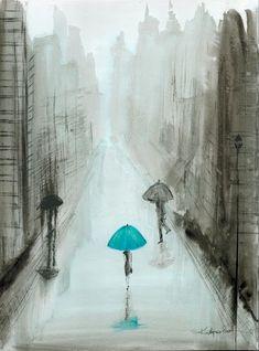 Krystyna Siwek - rain - abstract gallery Rain Street, Rainy Days, Romantic, Abstract, City, Gallery, Drawings, Illustration, Artwork