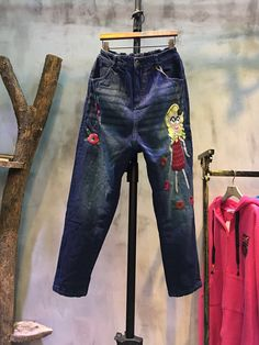 Girl And Rose Embroidery Fashion Jeans Womans Baggy Jeans #rose #embroidery #baggy #jeans #fashion #pants #trousers #bottoms