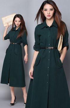 DR000641 Single-breasted woolen long skirt slim with belt dress