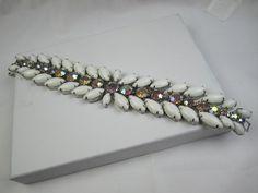 Weiss Milk Glass AB Rhinestone Bracelet 1950s by OurBoudoir, $88.00