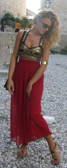 under red see through shirt. Great crop top & cute red maxi http://www.studentrate.com/fashion/fashion.aspx