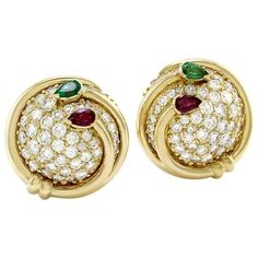 Hammerman Brothers Multi Gem Gold Button Earrings | From a unique collection of vintage clip-on earrings at https://www.1stdibs.com/jewelry/earrings/clip-on-earrings/