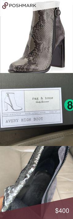 "rag & bone Python Embossed High Bootie Elegant Bootie with 4"" heel, shaft 5"" heel to top edge. New in box. rag & bone Shoes Ankle Boots & Booties"