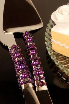 Grape purple wedding cake server and knife by TheVintageWedding, $59.99