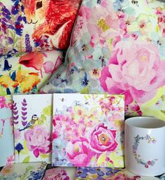 Peonie Cole gifts including floral cushions, mugs, coasters and cards available at www.peoniecole.co.uk