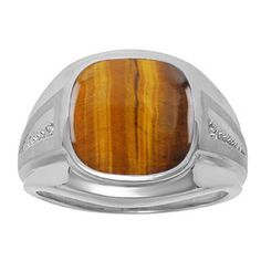 Diamond and Tiger Eye Men's Large Ring In White Gold Father's Day 2015 Unique Jewelry Gift Presents and Ideas. Gemologica.com offers a large selection of rings, bracelets, necklaces, pendants and earrings crafted in 10K, 14K and 18K yellow, rose and white gold and sterling silver for that special dad. Our complete collection and sale of personalized and custom gifts for dad: www.gemologica.com/mens-jewelry-c-28.html