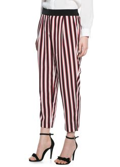 MANGO STRIPED BAGGY TROUSERS