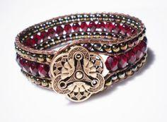 Red Bracelet Glass Bracelet Czech Glass Bracelet Ruby Red Jewelry