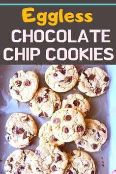 Eggless Chocolate Chip Cookies Best ever Soft, Chewy Eggless Chocolate chip cookies recipe chip cookies Eggless Chocolate Chip Cookie Recipe, Eggless Cookie Recipes, Easy Vanilla Cake Recipe, Eggless Desserts, Soft Chocolate Chip Cookies, Eggless Baking, Chocolate Chip Recipes, Snack Recipes, Chocolate Cake