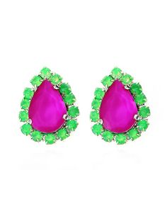 I wear a lot of black so this adds a great pop of color :) // The Grape Teardrop Earrings by JewelMint.com, $20.00