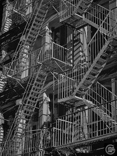 NYC. Fire escapes by Alberto Reyes  http://www.pinterest.com/sharonleetn/heavenly-stairways/