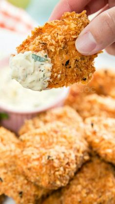 Crispy Salmon with Homemade Tartar Sauce. This would be easy to make in small portions.