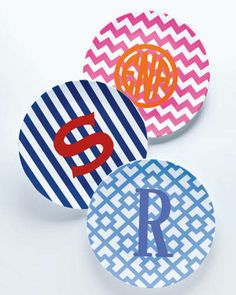 Colorful, monogramed plates make a great summer wedding gift