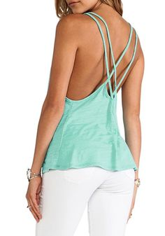 This teal cami top features square neckline and two spaghetti straps that  form into a crisscross at the back. Go for that model off-duty look by  pairing it ... 73dfb4faff