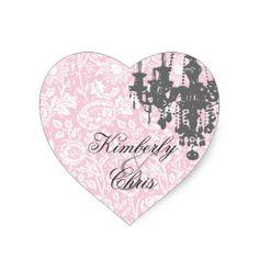 Pink and Gray  Wedding Damask Heart Sticker