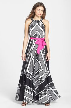 Eliza J Print Crêpe de Chine A-Line Maxi Dress