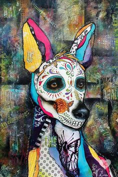 Mexico Day Of The Dead, Day Of The Dead Art, Canvas Wall Art, Canvas Prints, Art Prints, Chihuahua Tattoo, Mexican Hairless Dog, Mexican Artwork, Mexico Art