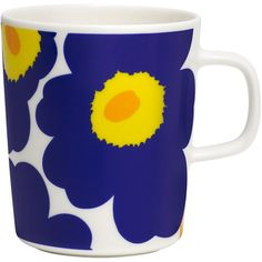 Marimekko Oiva/Unikko Mug  - 002 ($24) ❤ liked on Polyvore featuring home, kitchen & dining, drinkware, blue, blue mug, marimekko, blue coffee mugs, floral mug and marimekko mug