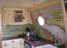 Narrow Boat Interior mural.
