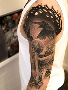 sleeve tattoos, arm tattoos, inked men, inked girls, tattoo inspiration, tattoo ideas. Not for me, but nice art work