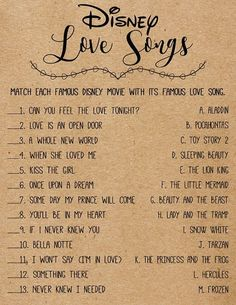 Disney Love Songs Bridal Shower Game . Printable Instant